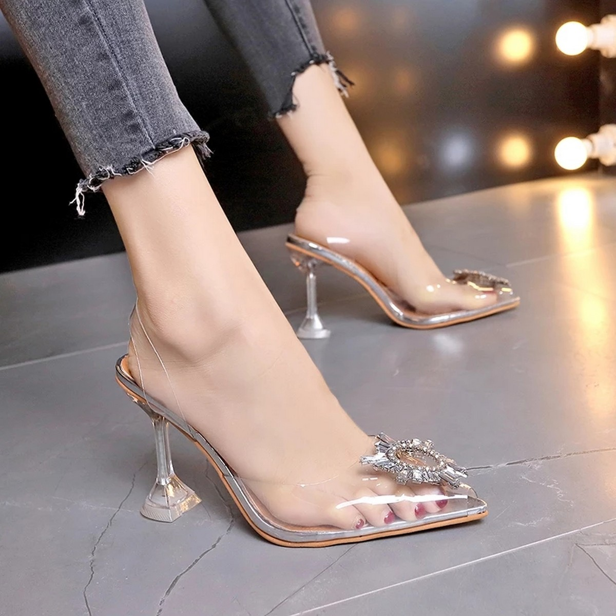 Transparent Pointed Heels, Trending and Stylish Clear Vinyl Heels for Girls, kitten heels for women