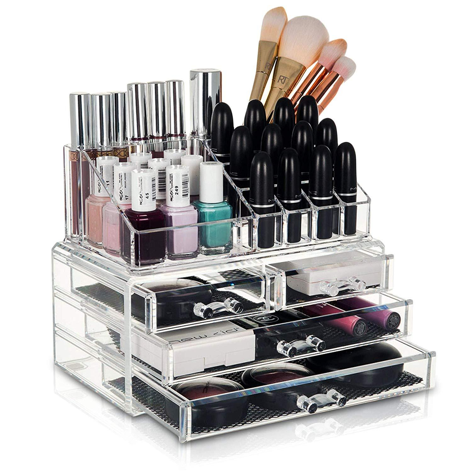 4 Dress Transparent Cosmetic Makeup Acrylic Organizer Drawers Set for Lipstick, Brushes, Bottles, Jewelry and More. Clear Case Display Rack Storage Holder
