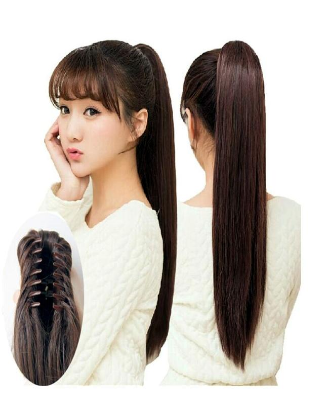 """22"""" Pony Tail Ponytail Hair Extension Long Straight - Natural Brown Color"""