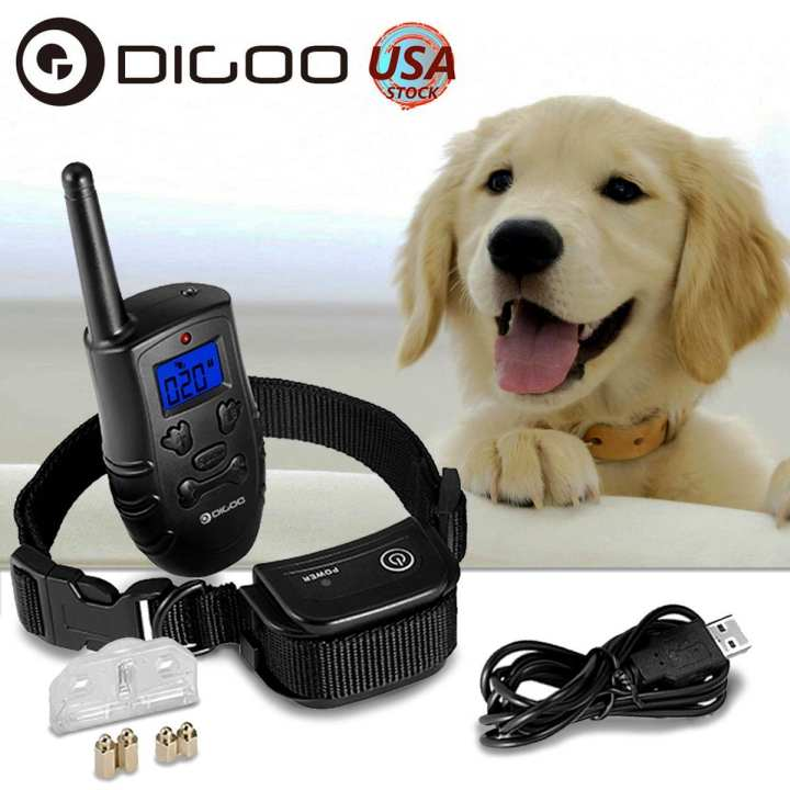Digoo Rechargeable Dog Shock Training Waterproof Bark Collar Remote Pet Trainer