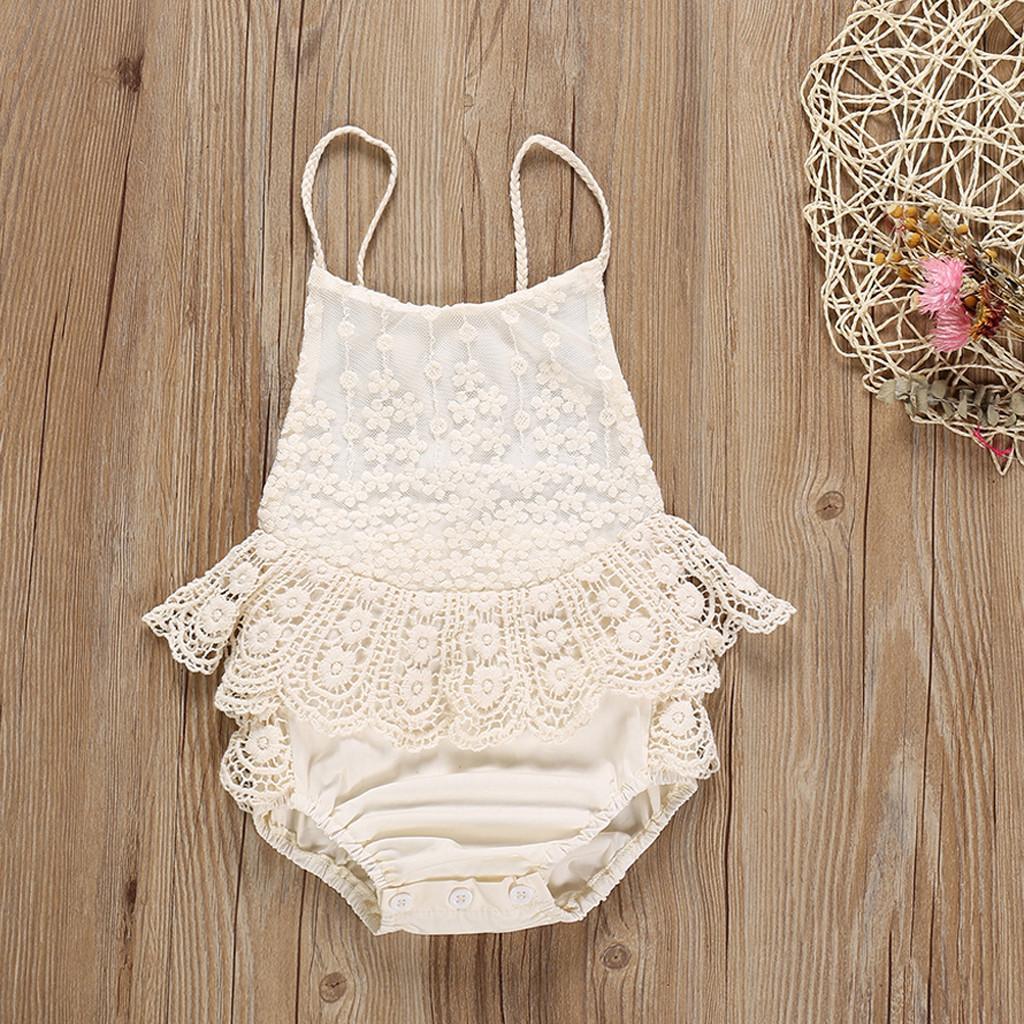 134351b868f DuangDuang Toddler Newborn Baby Girls Boys Lace Patchwork Ruffles Romper  Bodysuit Clothes