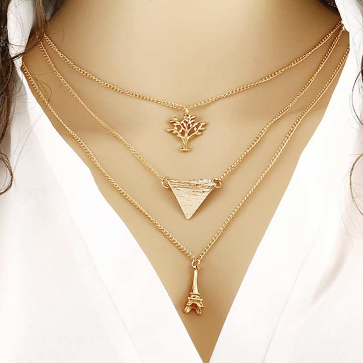 Eiffel Tower Multi-Layered Necklace - Golden