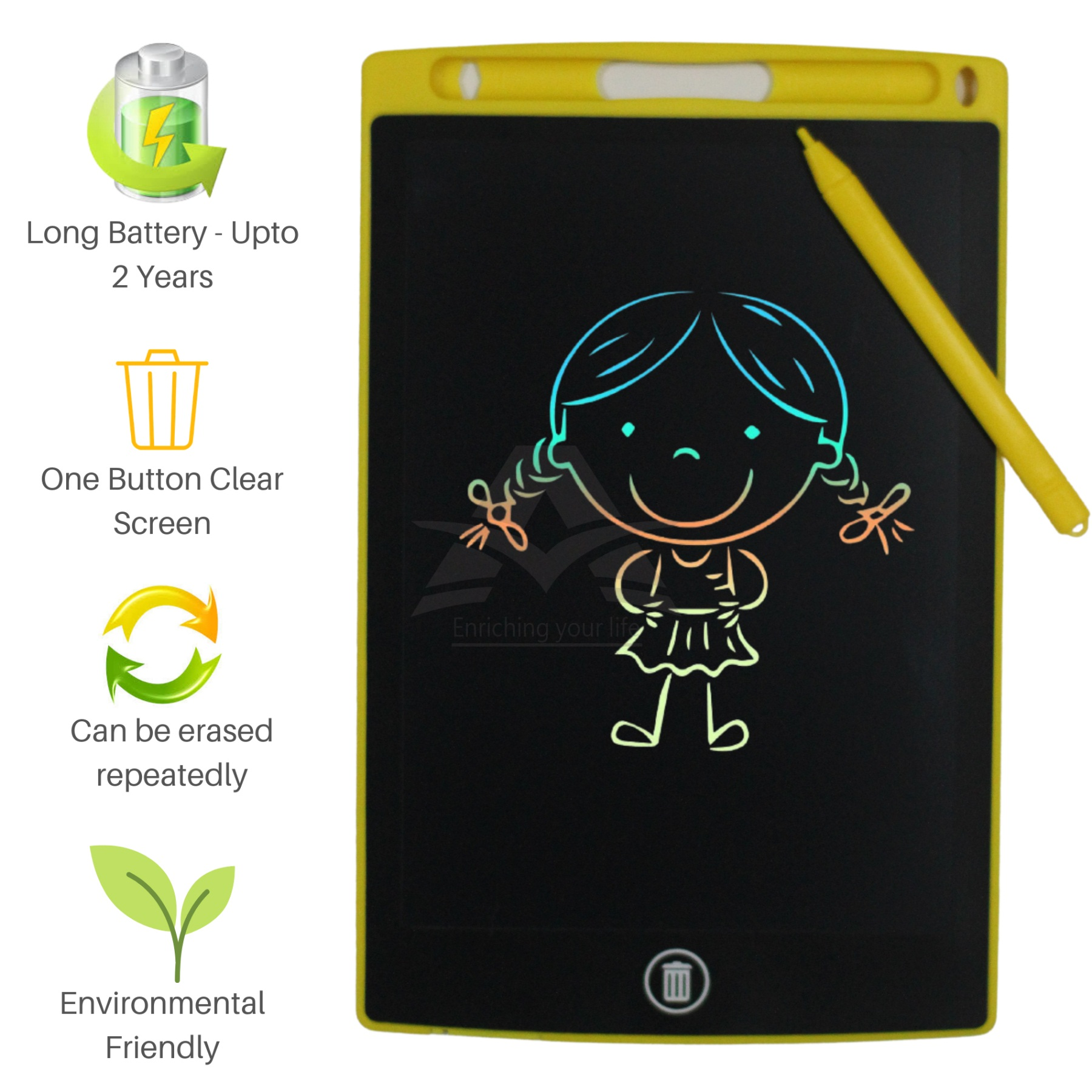 LCD Writing Tablet – Colorful Screen - Multicolor - Electronic Portable High Quality Drawing Tablet and Gadget for Kids and Adults at Home, School and Office with Erase Button – 8.5 Inch Display Ultra Slim Writing Pad