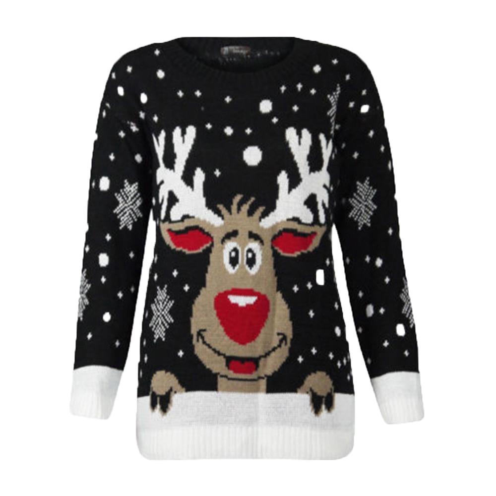 Women Christmas Deer Warm Knitted Long Sleeve Sweater Jumper Top Blouse Comfortable Versatile Tops
