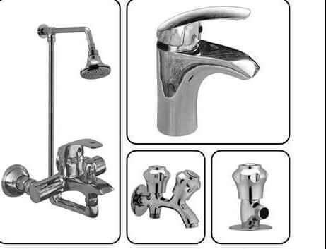 BATHROOM WALL MOUNTED SHOWER MIXTURE COMPLETE SET 8 PIECE BRASS MATERIAL