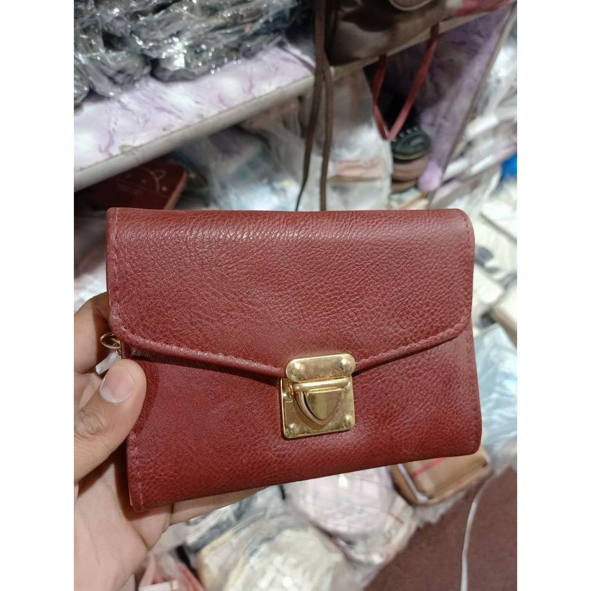 Girls Hand Clutch With Golden Long Chain