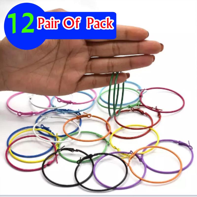 12 Pair Of  Pack Fashion Jewelry Hoop Earrings Set
