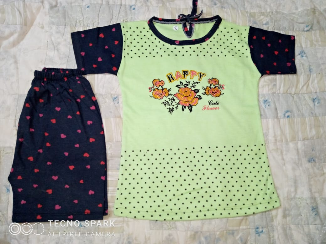 Kids New Arrival Summer Collection Girls Pajama Suit EID - Shirts Pajama Suit
