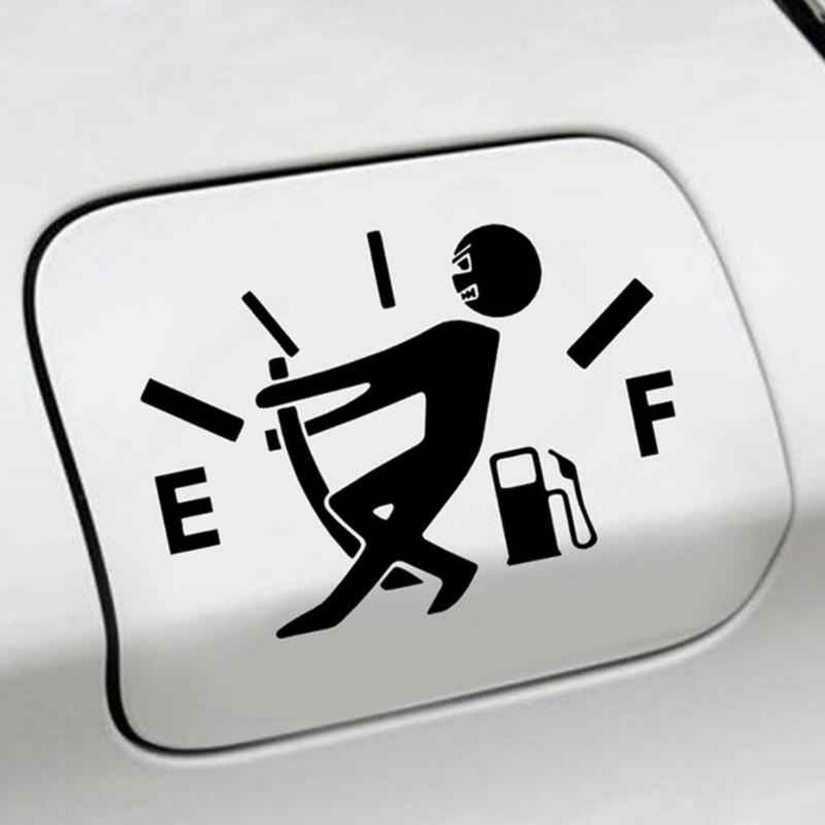 Funny Car Sticker (Black) Pull Fuel Tank Pointer To Full Fuel Gage Empty Stickers Vinyl Car Fuel Tank Decal Decoration Stickers for Car