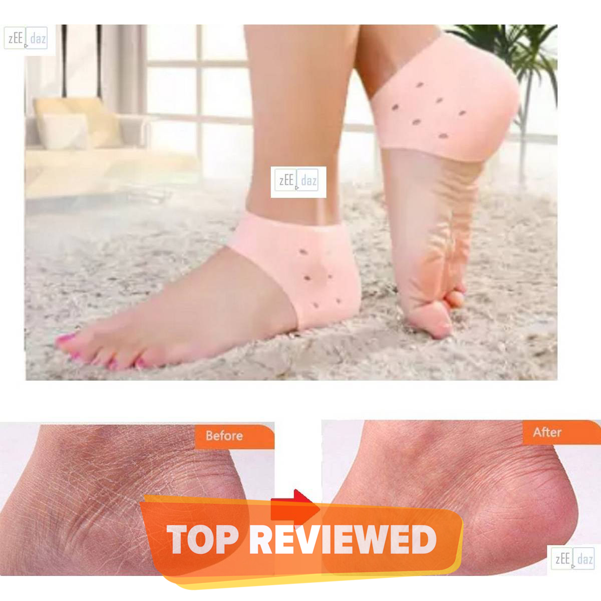 Soft Silicon Pain Relief Moisturizing Heel Anti Crack Pad for Men and Women, Silicone Heel Protectors Heel Guards & Heel Cups to Repair Dry Cracked Heel _ 1 Pair