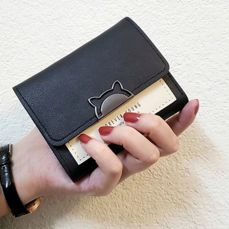 AIREEBAY mini wallet womens Fashion Purse female short small wallets korean style student lovely pink purse female wallet.