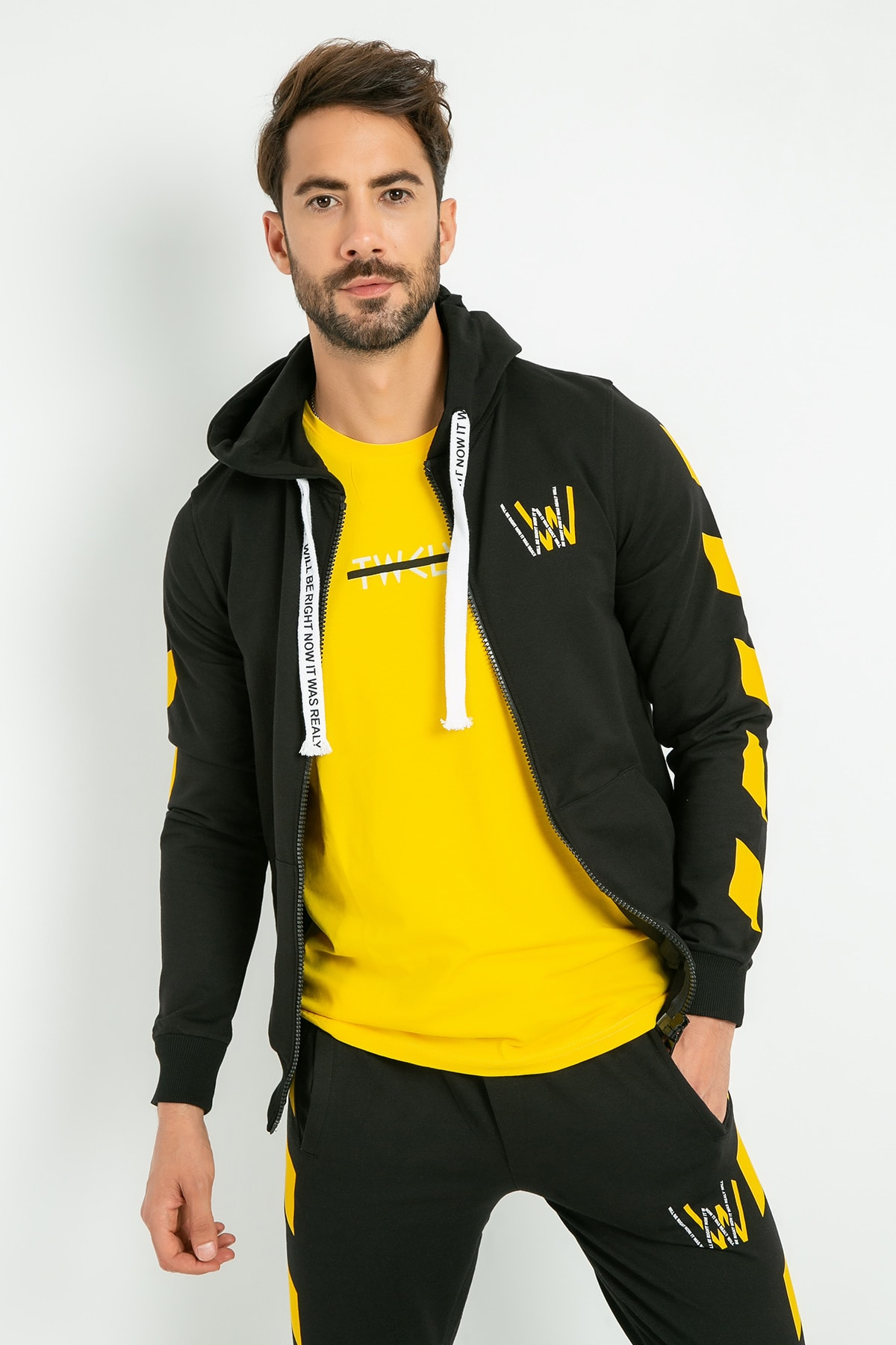 Sateen Men Hooded Printed Tracksuit Top