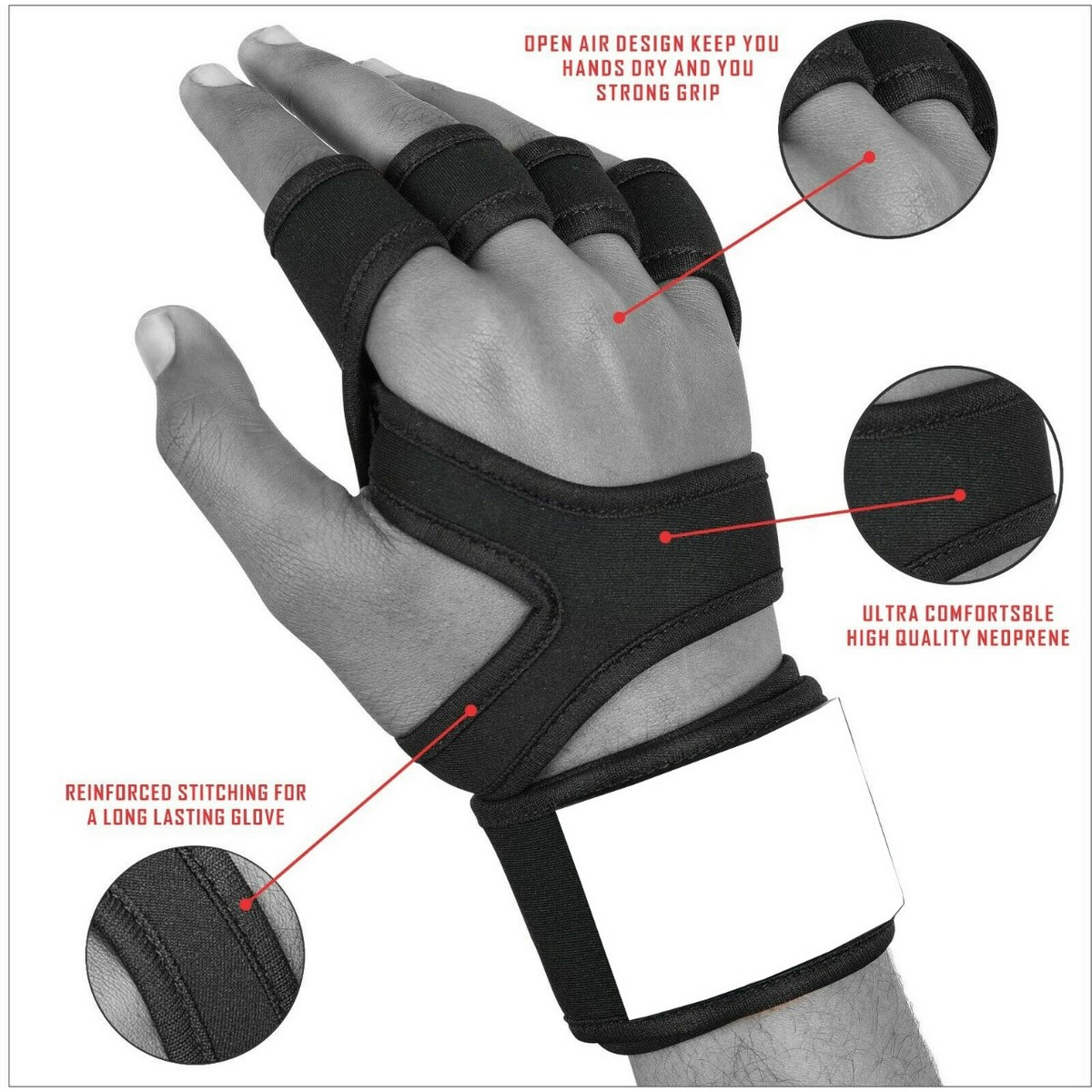 Fitness Gloves Weight lifting Gym Workout Training Gloves with strap Men / women