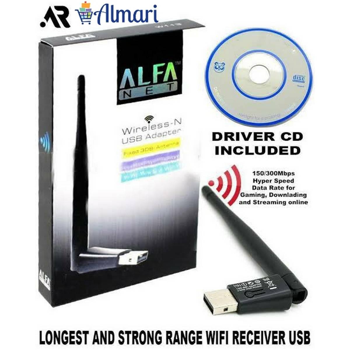 Alfa Wifi Net Wireless-N USB Adapter Fixed 3DBi Antenna Soft AP Wifi Utility For Windows For PC