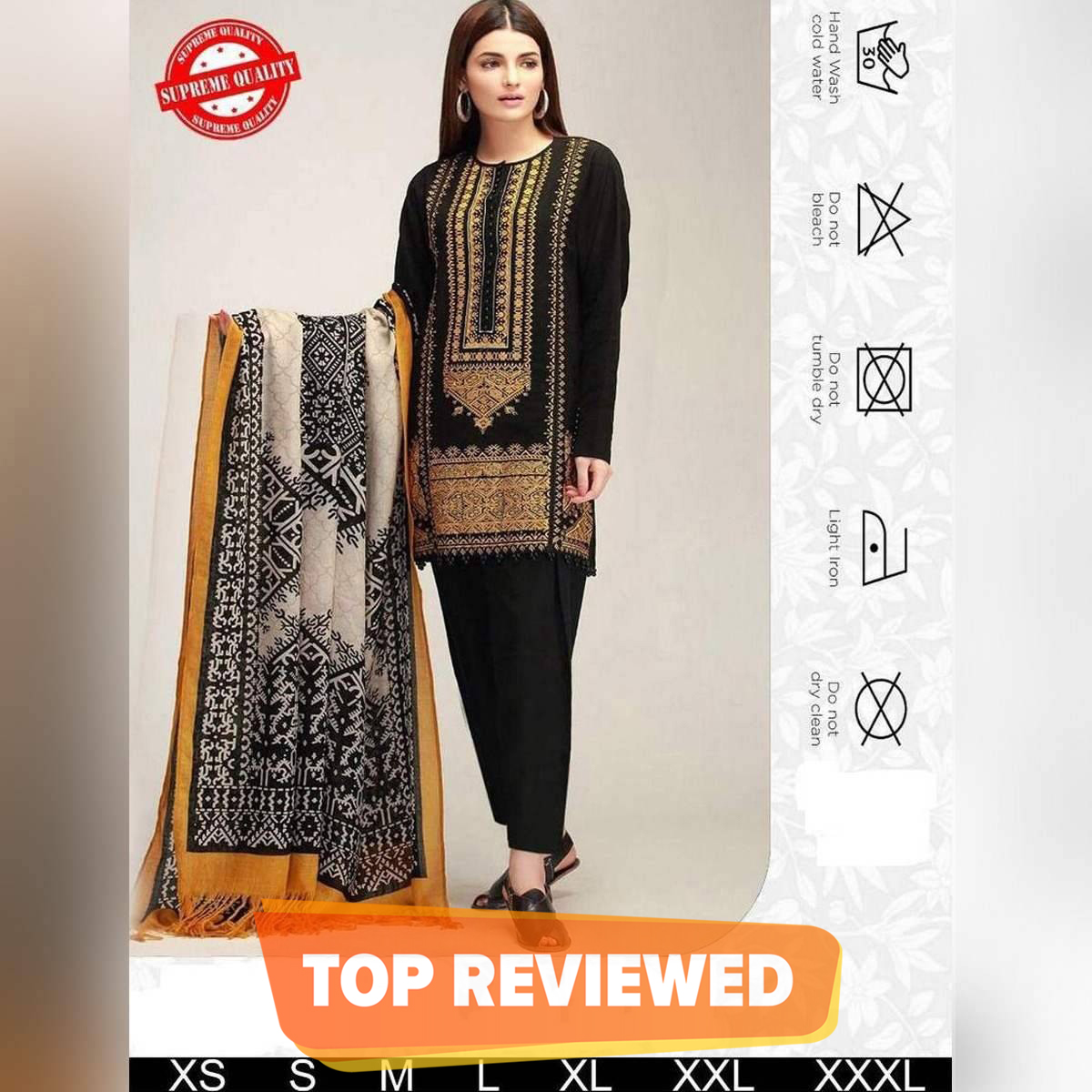 New Winter Collection Neck Embroider Linen Marina Unstitched With Wool Shawl and Plain Trouser W104
