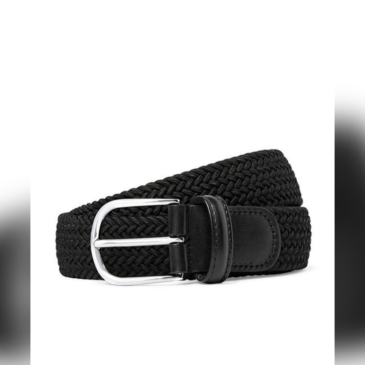 Elastic Belt Canvas Black Faux Leather Elastic Belt for Boy and Girls