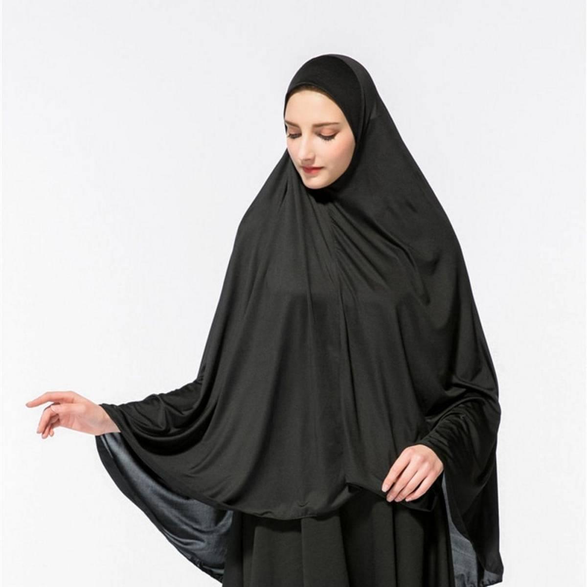 Namaz Hijab With Sleeve High Quality Muslim Women's Hijab scarf Islamic worship Wrap women Head Scarf/scarves Milk silk Elastic Solid Black Color Turban