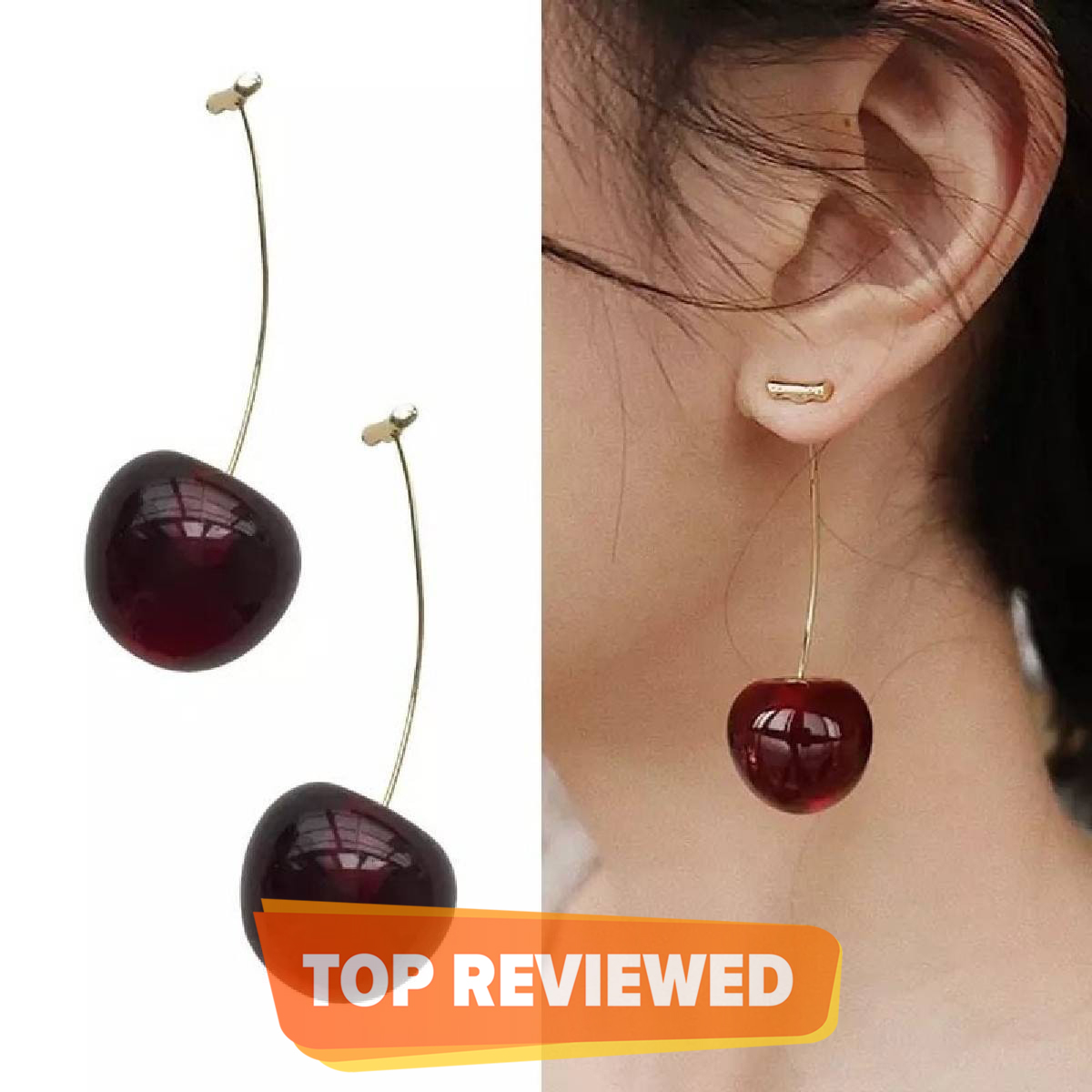Fashion Jewelry long earrings with temperament of cherry nails and fruits
