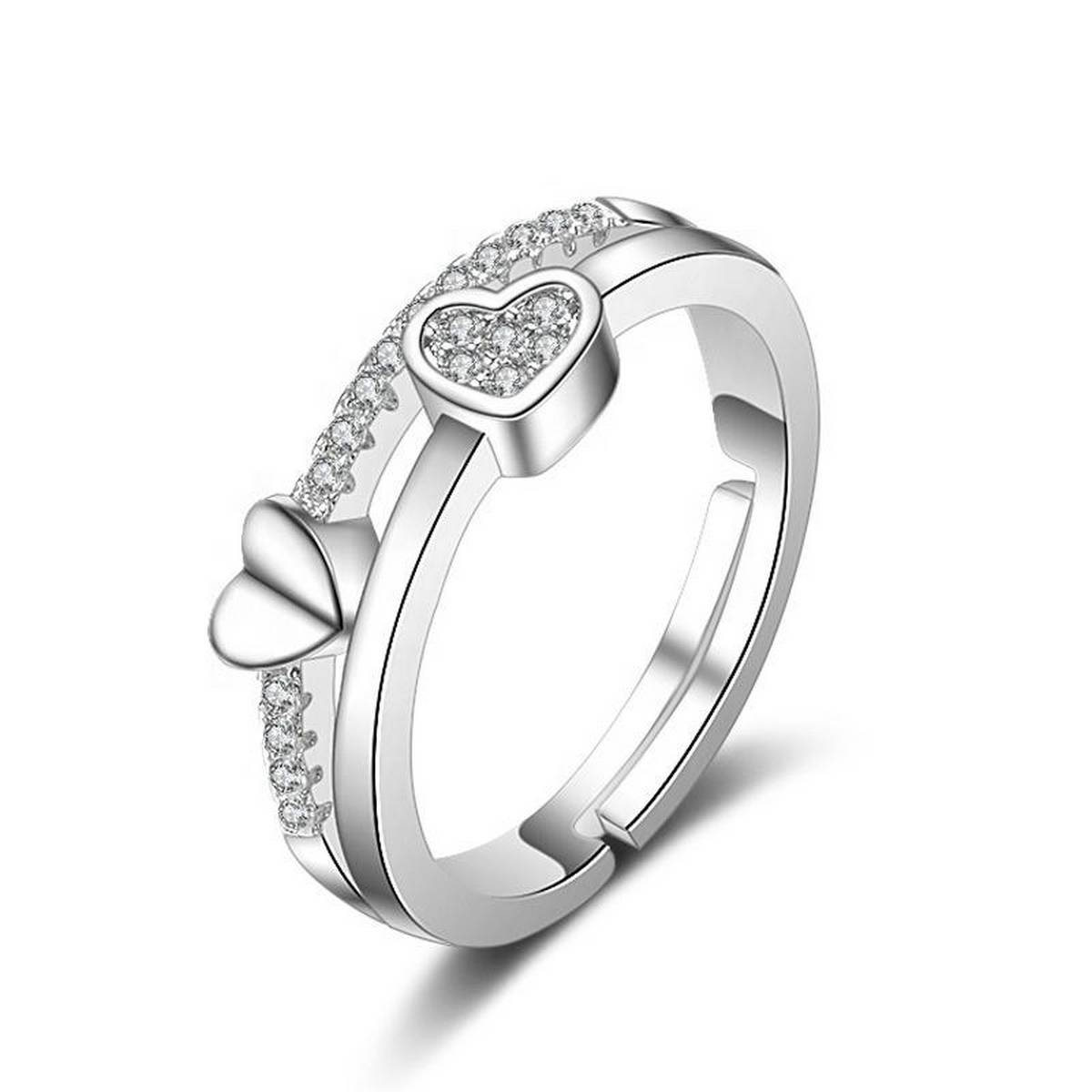 Fashion SS Wedding Engagement Collection 925 Silver Plated Double Heart Love Styling Zircon Rings for Girls & Women - Nj376