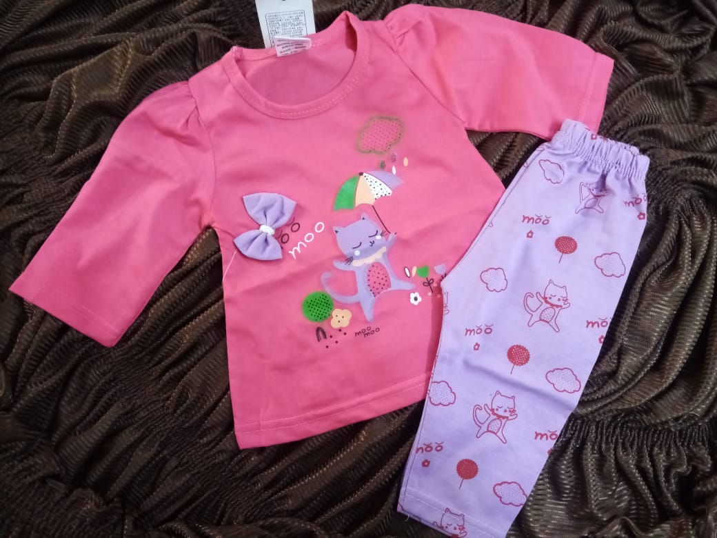 Atfaal InterLock Mid Senson Printed and Full Sleeves Shirt and Trouser Baby Suit 3-6, 6-9 Months Baby Girl