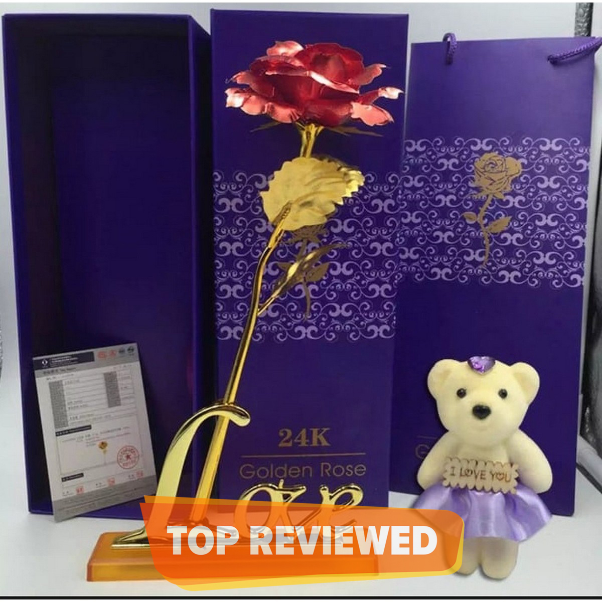 Valentine Day Anniversary and Birthday Gifts 24k Gold Plated Red Rose Flower with Gift pack box