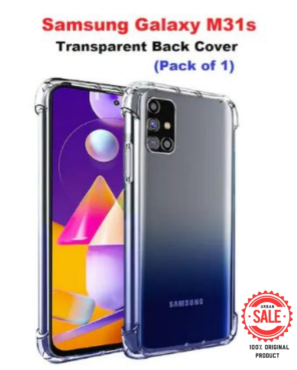 Samsung Galaxy M31s Back Cover Case   Shockproof Soft TPU Case   Cushioned Edges for Ultimate Protection (Transparent)