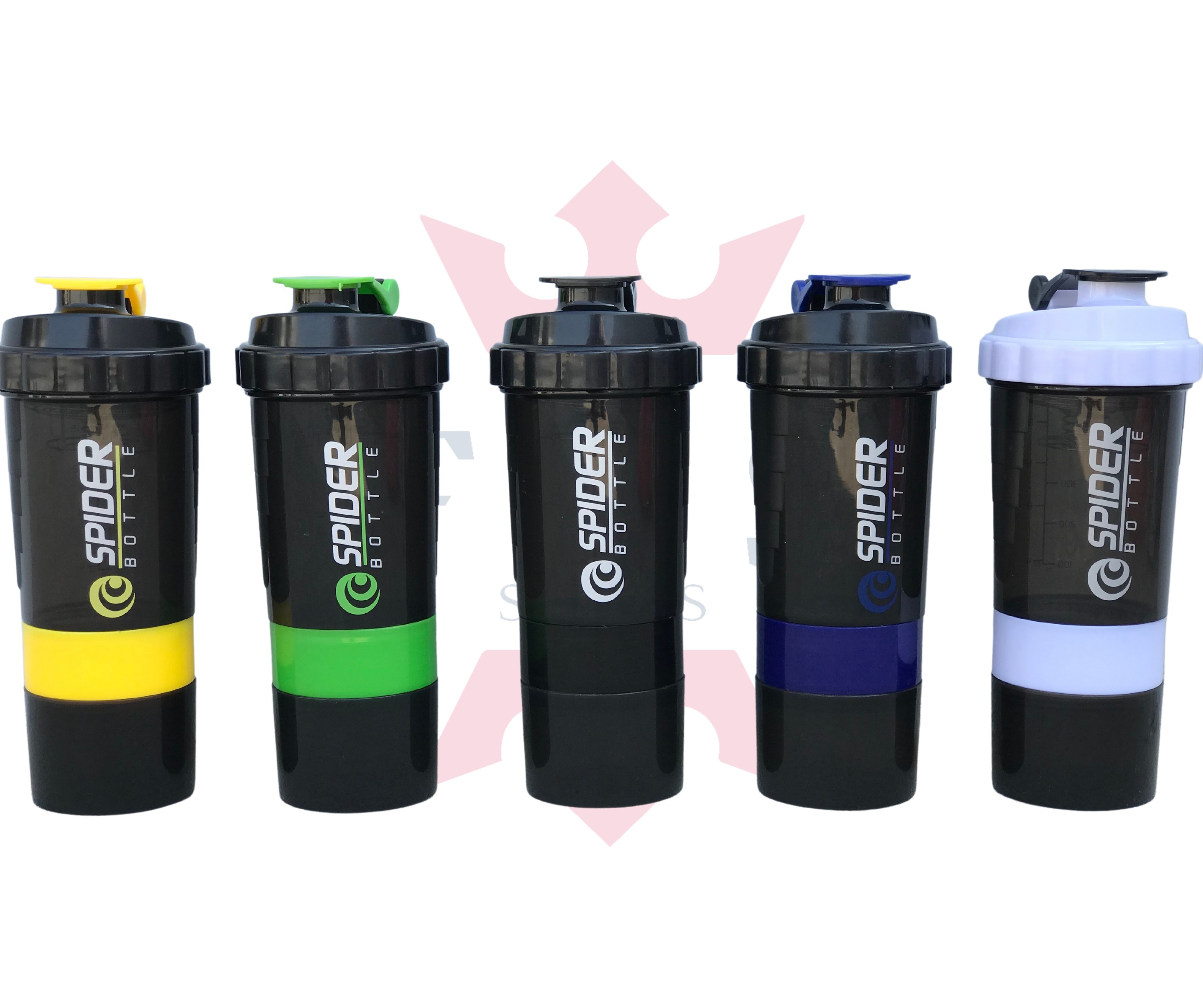 3-in-1 Spider Gym Shaker bottle Pro Cyclone Shaker 500ml with Extra Compartment, 100% Leakproof Guarantee, Ideal for Protein, Pre-workout and BCAAs, BPA Free Material Sipper Bottle