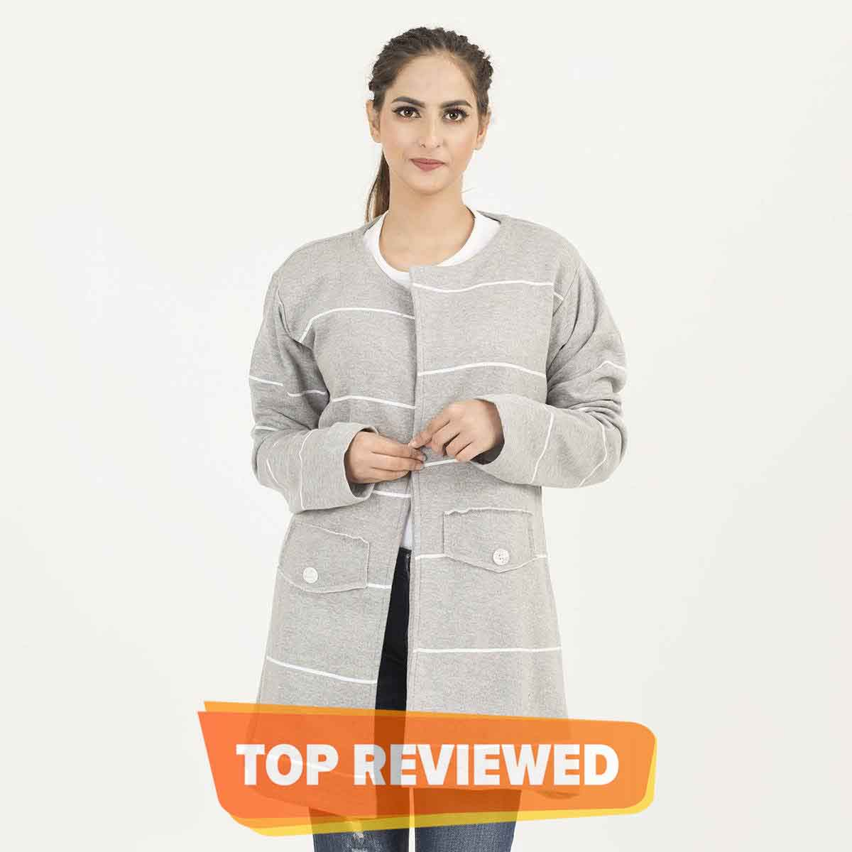 Select Grey Stylish Lining Long Upper For Winters (Free Size) - B02SL