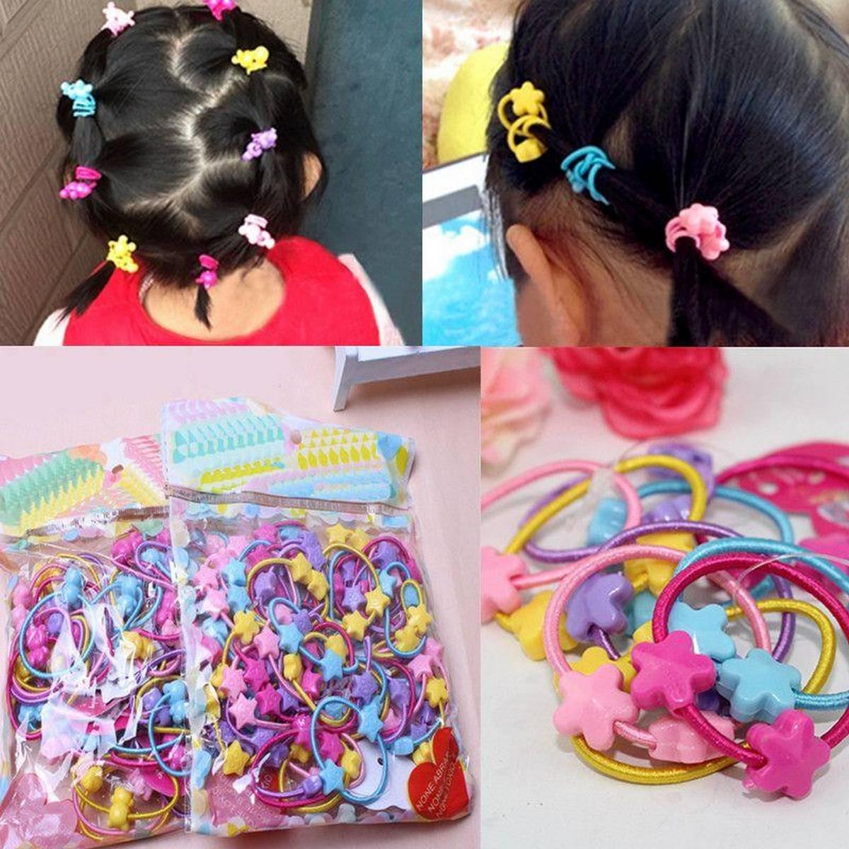 10pcs/Lot Girls Hair Accessories Cute Love Star Candy Elastic Hair Bands Kids Ponytail Holder Rubber Bands Headbands Scrunchie