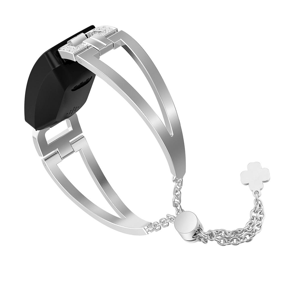 Band for Fitbit Inspire/Inspire HR Fashionable Stainless Steel Smart Watch  Replacement Band Link Bracelet with Bling Crystal Rhinestone for Women