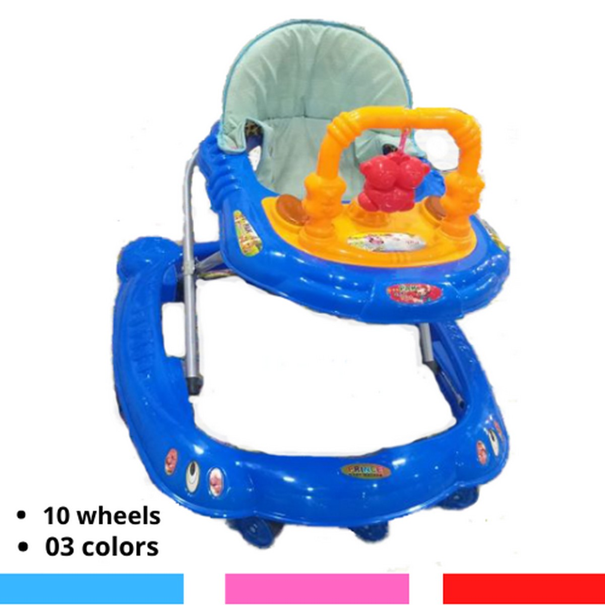 10 Wheel Music Tray Kids Walker  Baby walker with U shaped toy in red 03 colors