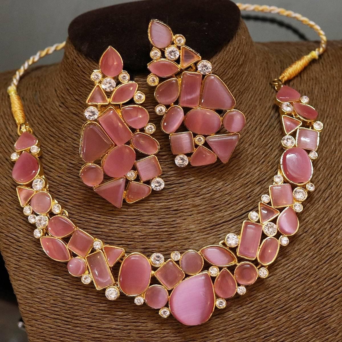 stylish kundan set  bridal pink color 223775