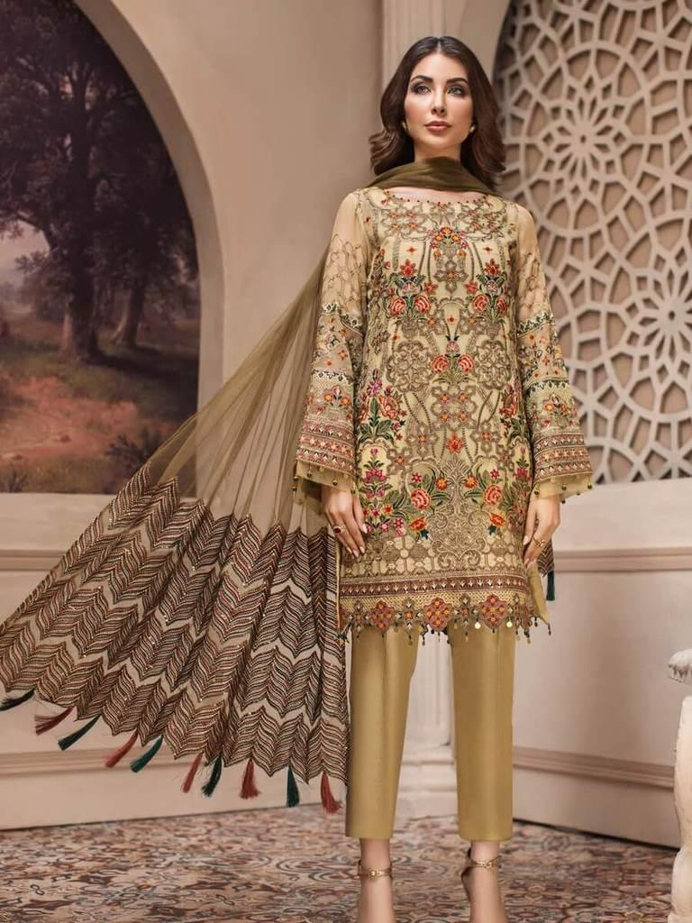 6c1337f0c4 Jazmin Luxury Chiffon Eid Collection 2019 3PC Embroidered Suit Kashm  clothes girls and women
