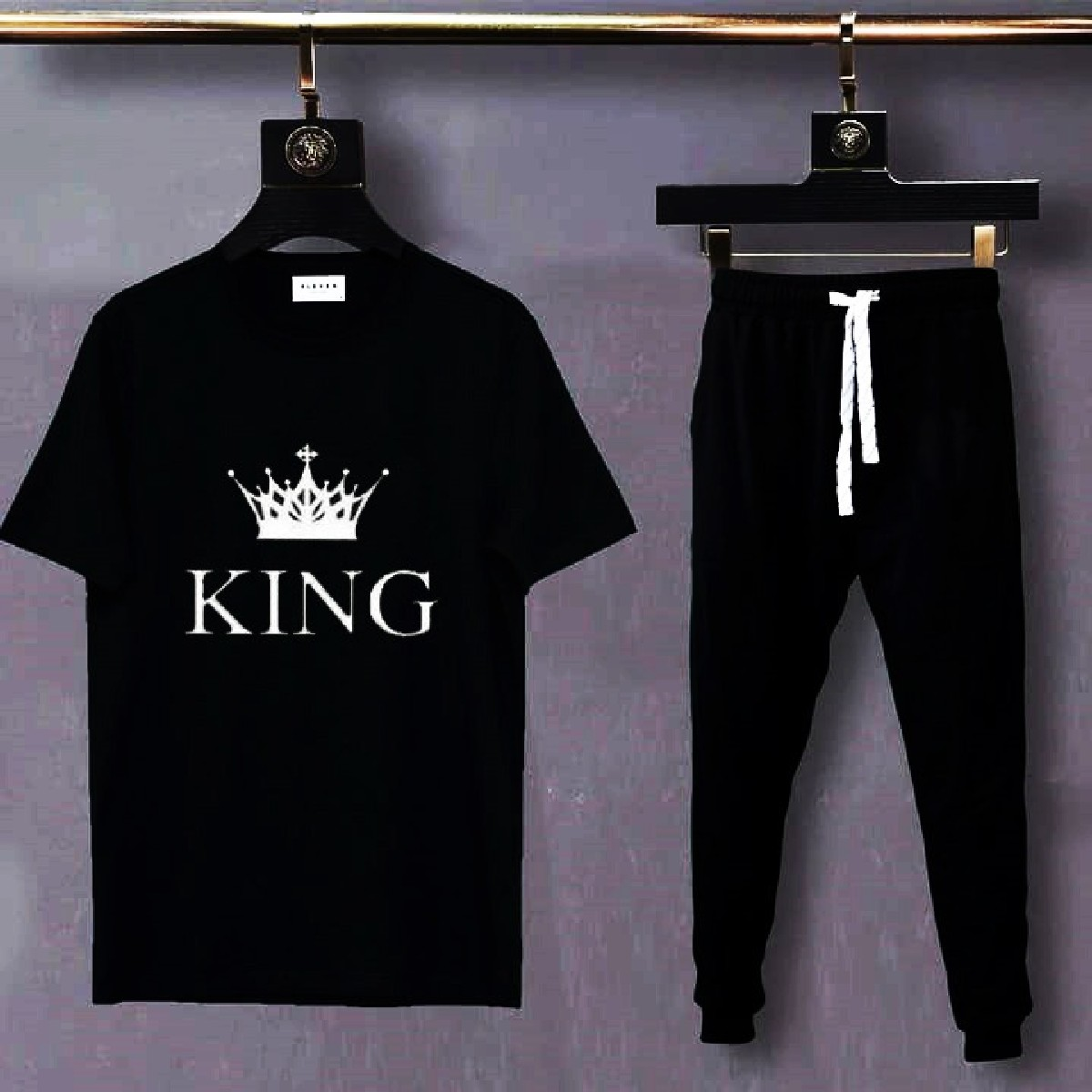Pack Of 2 Black Track Suit King Printed T shirt And Trouser Casual Cotton Sports Wear Plain Trousers Summer Arrival For Men