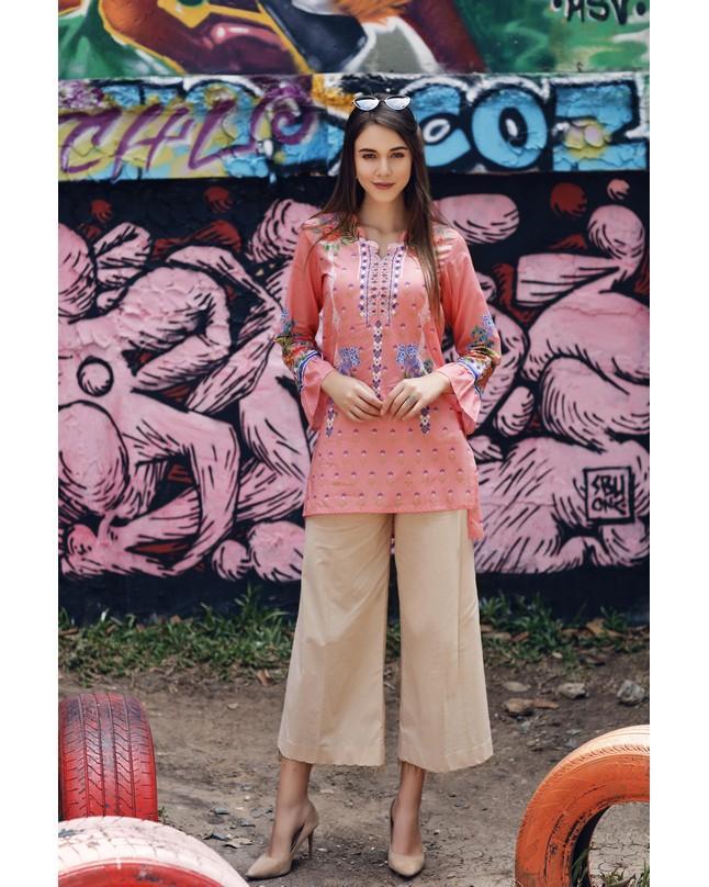 So Kamal Women Summer Collection 2019 Peach 1 PCS Pret - Printed Int:XS Lawn Shirt DPL19-290