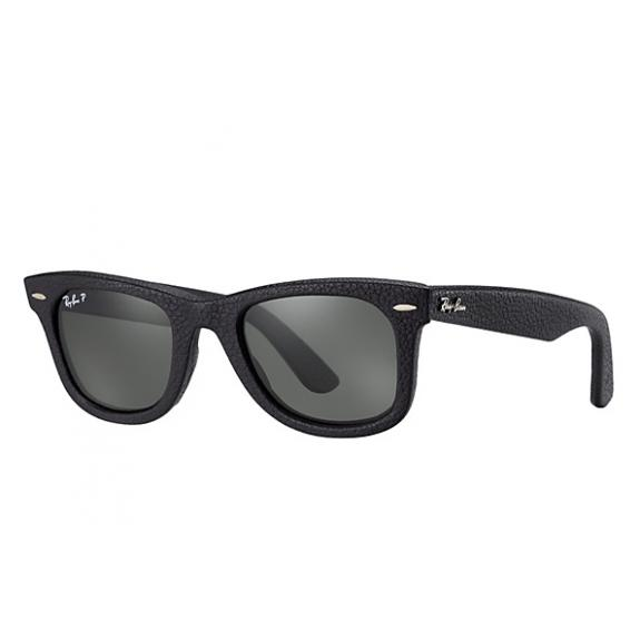 c21fddea6 Ray-Ban Original Wayfarer Leather Black RB2140 Q-M 1152/N5 50.22 3P Medium  Polarized