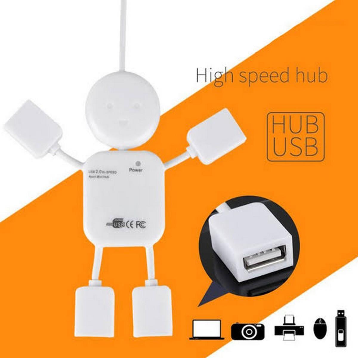 USB 4 Ports HUB Extension 2.0 - New Robot Shape Design - White