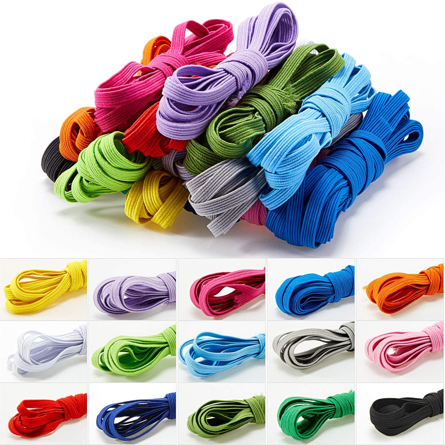 Bloomy 10 Colors Flat Elastic Cord Multicolor Braided Stretch Band Ribbon Bands Craft Rope Cord for Sewing, Making Shoe Laces, Wigs, Bracelets, Crafts DIY Projects, 2 yards in each color  total 20 yards  length (2 m)  lastic for shalwar  Rubber Lastic