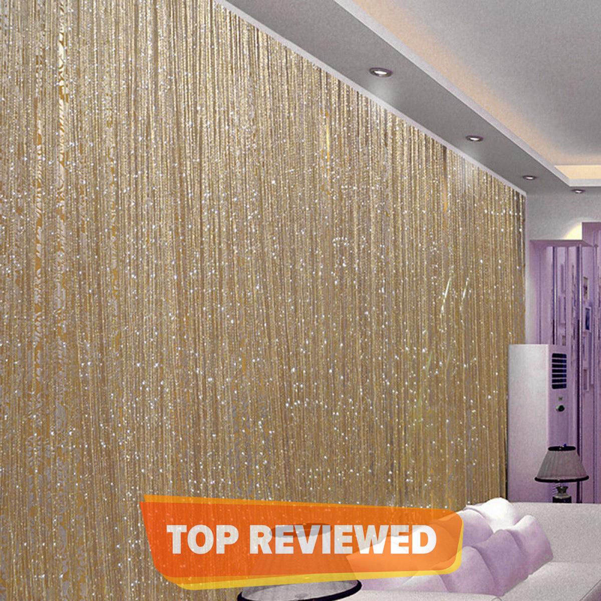 100x200cm Shiny Tassel Flash Golden Line String Curtain Window Door Divider Sheer Curtain V