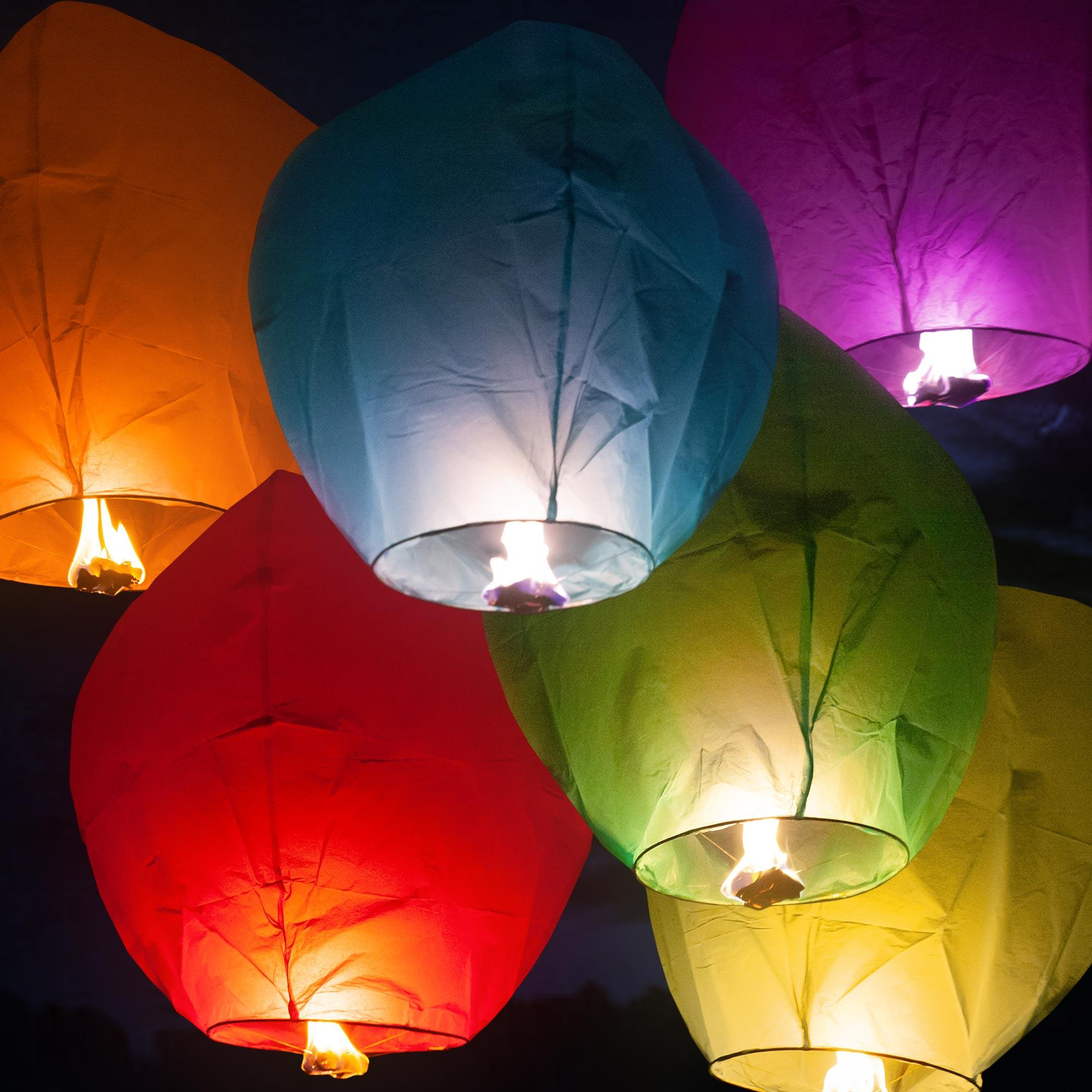 Sky Lanterns Chinese Paper Candle Lamp Fly for Wish Party Wedding -Pack of 2
