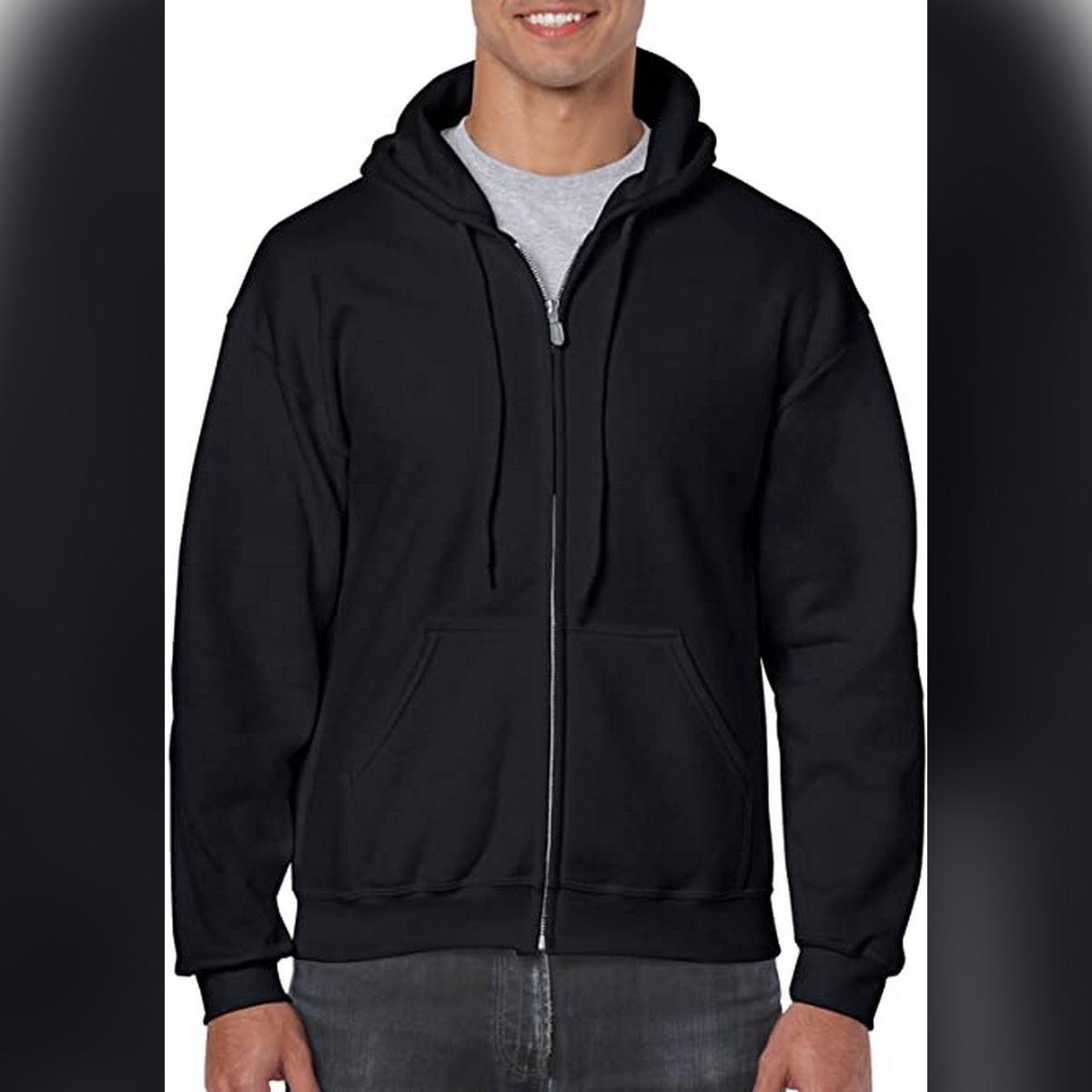 Black Plain Zipped Hooded Hoodie For Men and Womens Zipper XXL Size