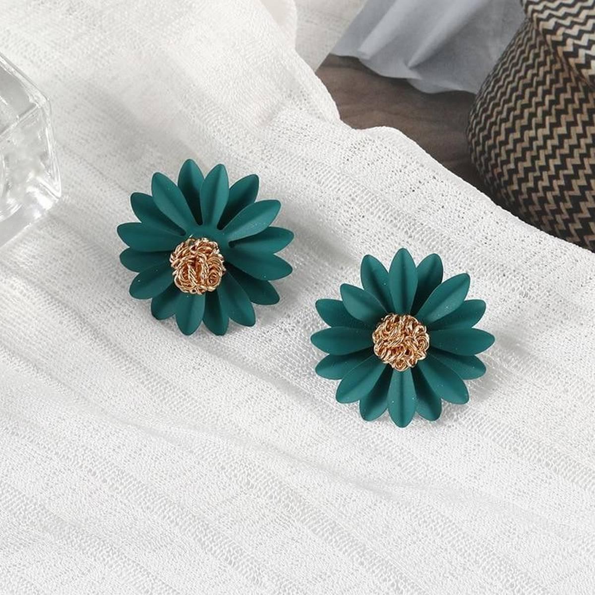 Trendy Cloth Sunflower Flower Stud Earrings Female Statement Earrings