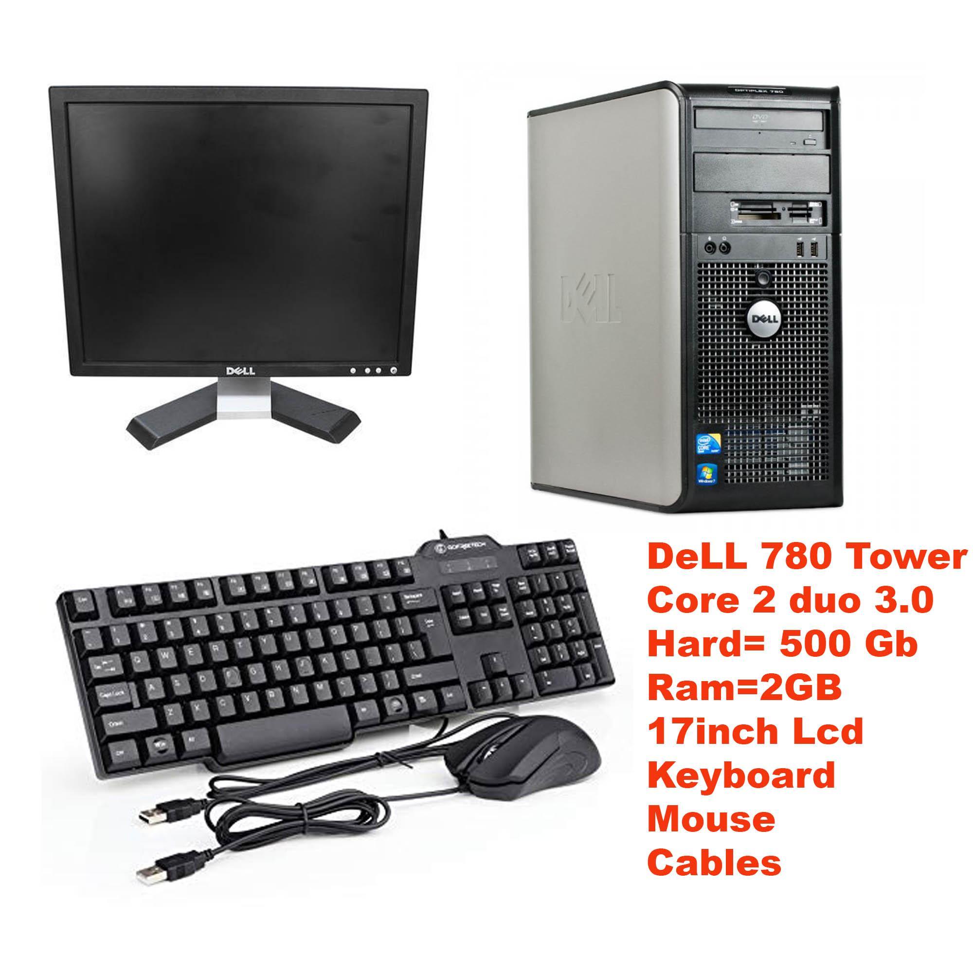 OptiPlex 780/380 USFF Tower Intel Core 2 Duo 3 0 GHz 2 GB RAM 500 GB HD DVD  Win 10 Pro 64-Bit + Dell 17 LCD + Dell Mouse & Keyboard - Black -