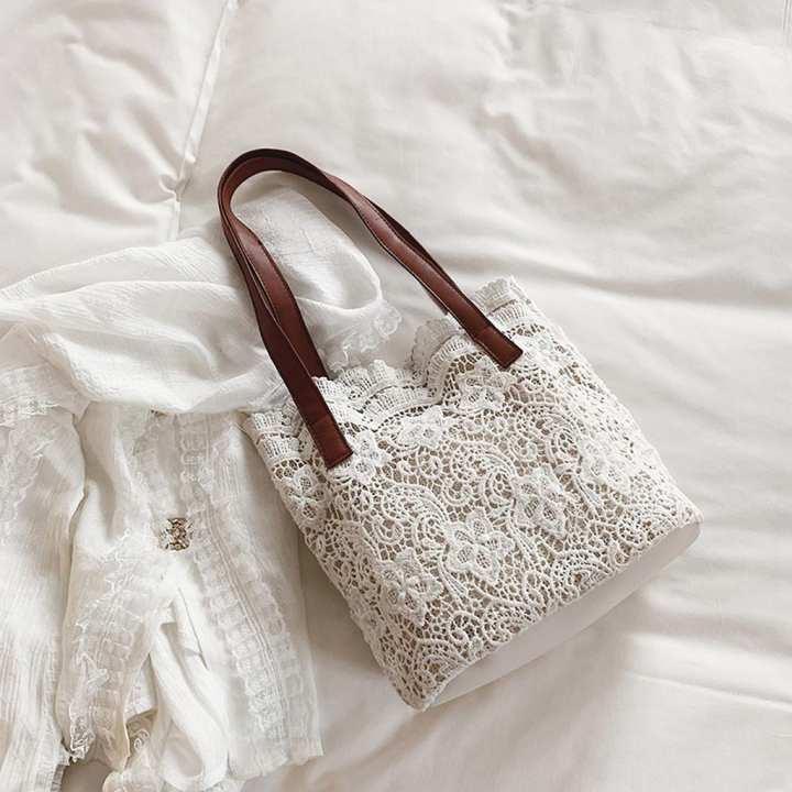 MissFortune Fashion Lady Literary Lace Hollow Versatile Handbag Shoulder Bag + Clutch