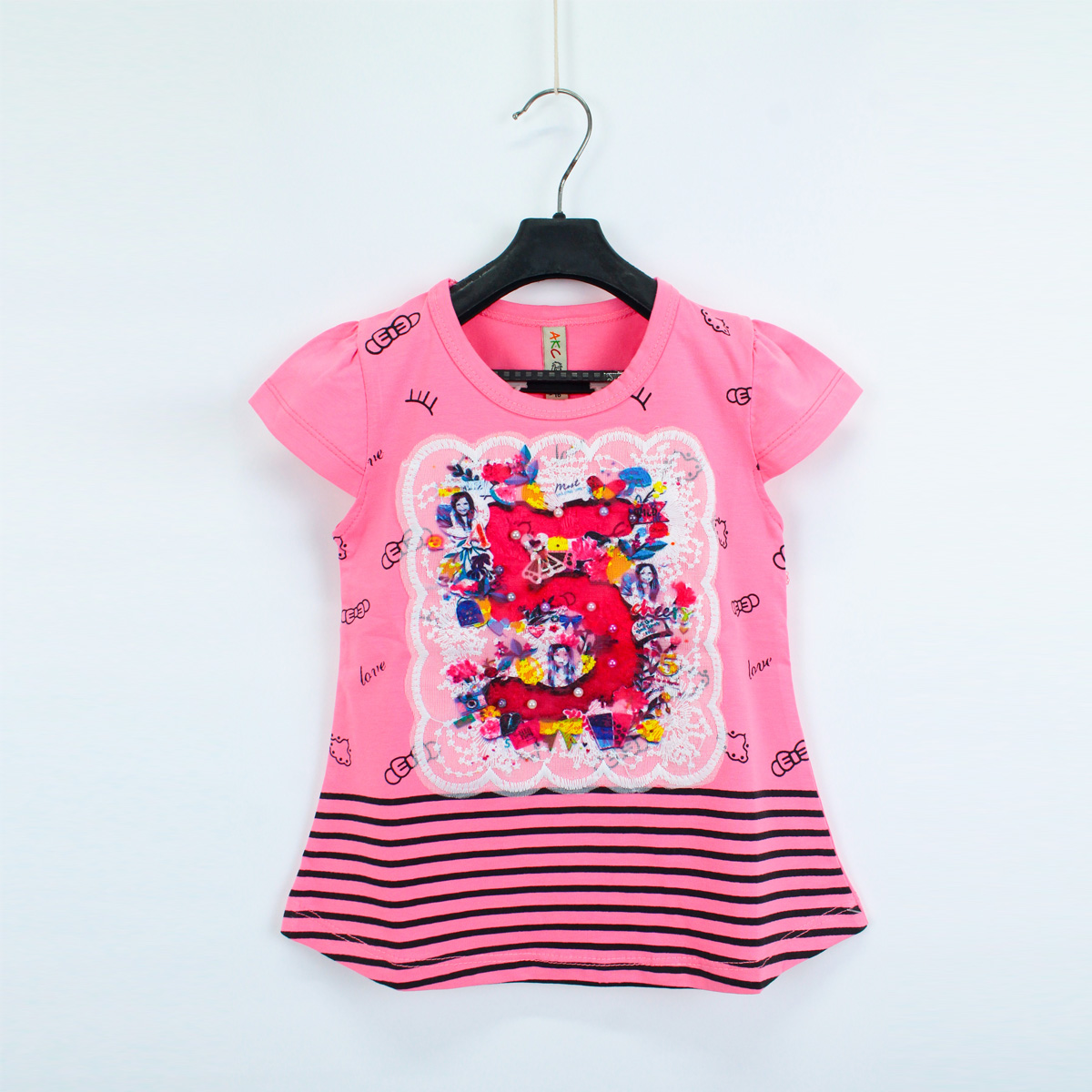 Cut Price 2.5yrs - 8yrs T-shirt For Girls Net Embroidery Five