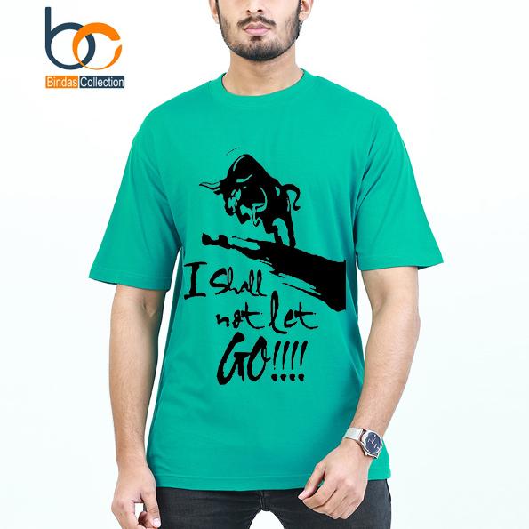 Green Half Sleeves Printed T-shirts For Men