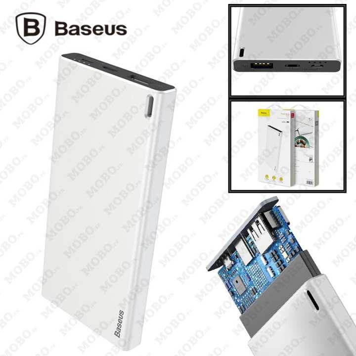 Original Baseus Choc Power Bank Thin Body Light & Portable 10000mAh Dual Input Type-C & Micro Quick Charger (White)