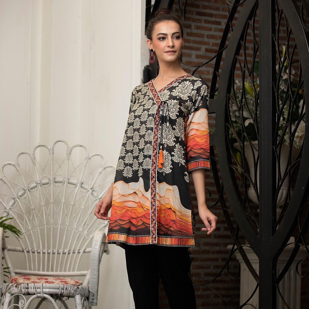 """Lsm Fabrics Komal Emb Kurti Coll 2019 Orange Unstitched - 1pc Kurti for Women"""