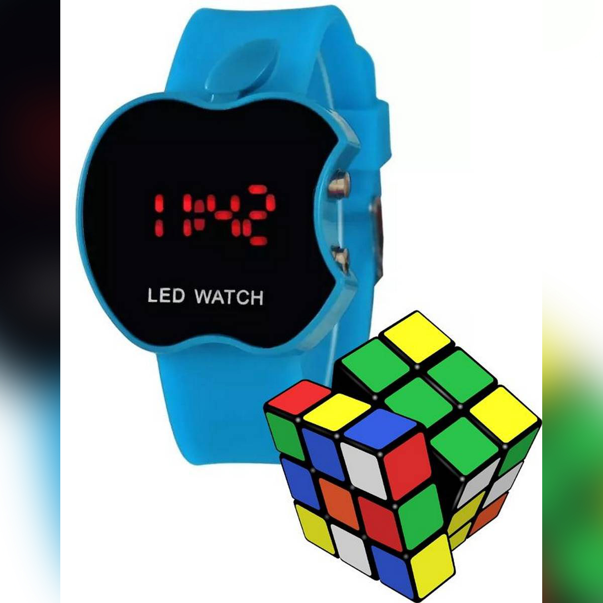 Pack of 2 - LED Sports Silicone Digital Watch For Men & Rubic Cube