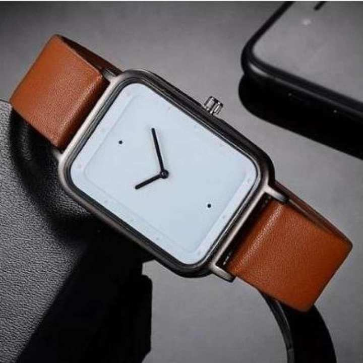 Tomi Watch In Square Shape Brown Strap & White Dial - Brown